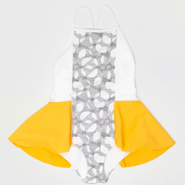 Ruffled Swimsuit, Halftone/Off white & Yellow