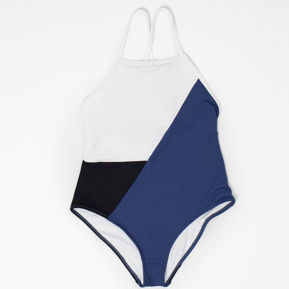 Color-block Swimsuit, Blue, Black & White