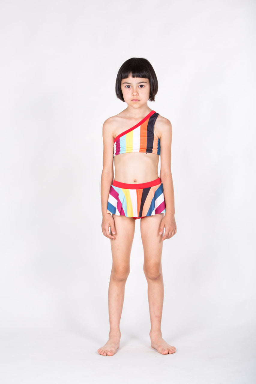 One Strap Bikini Multicolor stripes print & red
