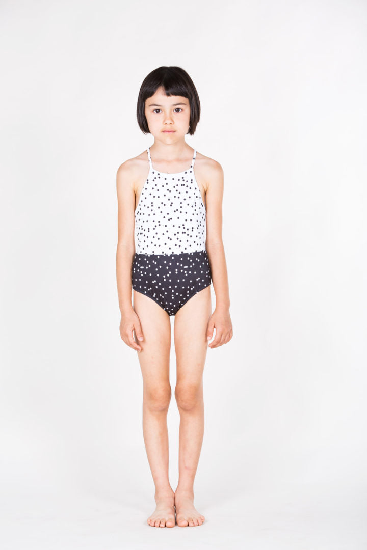 Thin Straps Swimsuit Polka dots white & black