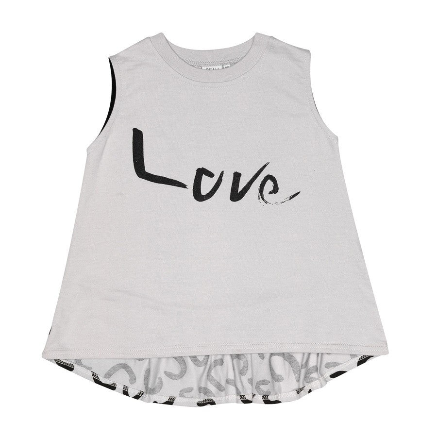Sleeveless Love top, frill back, dove grey