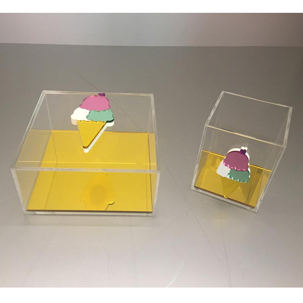 Clear Plexiglass Ice Cream - Yellow