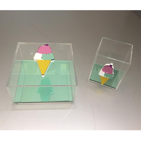 Clear Plexiglass Ice Cream - Green