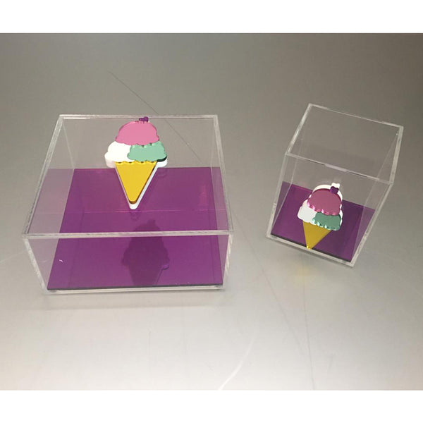 Clear Plexiglass Ice Cream - Purple