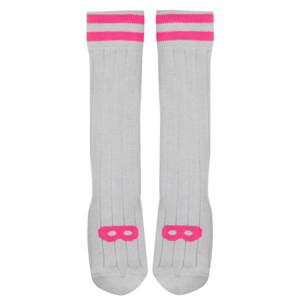 Knit Knee High Ribbed Socks, Dove Grey, Neon Pink Mask