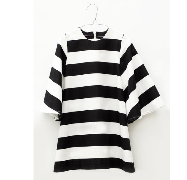 Lucena Dress Black & White Stripes