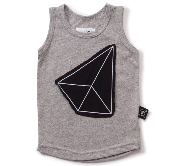 Geometric Patch Tank Top, Heather Grey