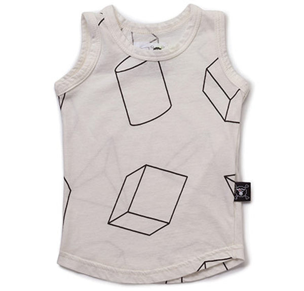 Geometric Tank Top, White