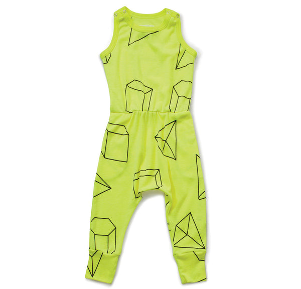Geometric Romper, Neon Yellow
