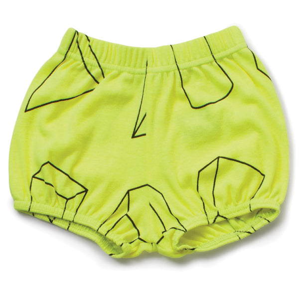 Geometric Yoga Shorts, Neon Yellow
