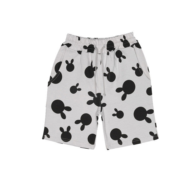 Drawstring Shorts, Dove Grey, Rabbit Dots