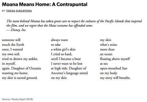 Moana means home: A Contrapuntal
