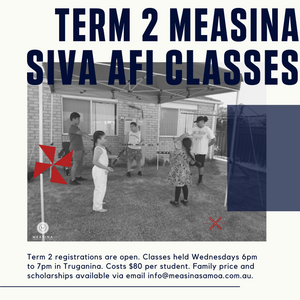 Measina Siva Afi Beginner In Person Class Term 2 2021 - Measina Treasures of Samoa