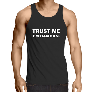 Trust Me I'm Samoan AS Colour Lowdown - Mens Cotton Singlet Top - Measina Treasures of Samoa