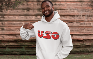 Man wearing White hoodie with the word USO written in red