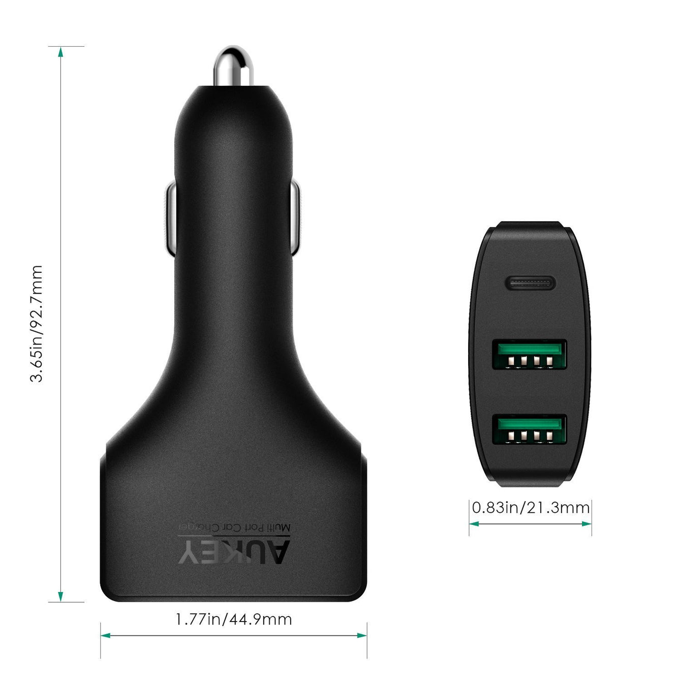 Aukey [CC-Y3] USB-C 3-Port 48W Quick Charge 3.0 Car Charger