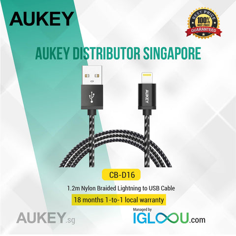 Aukey [CB-D16] [Apple MFI Certified] 1.2m Nylon Braided Lightning Cable