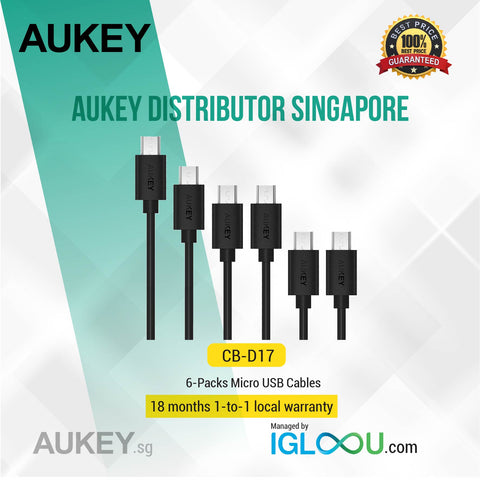 Aukey [CB-D17] Micro USB Cable, Quick Charge (6-Pack 1 x 9.9ft, 1 x 6.6ft, 2 x 3.3ft, 2 x 1ft)