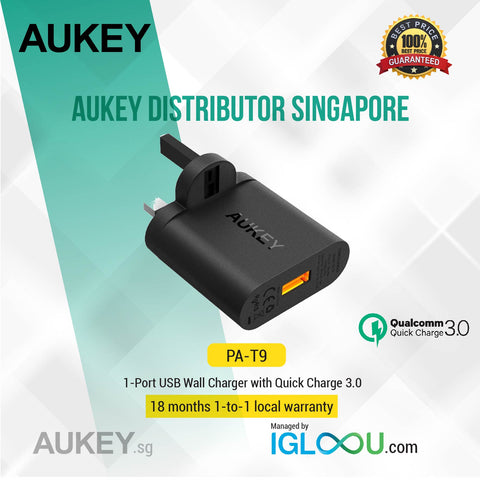 Aukey [PA-T9] AUKEY 18W 1-Port USB Wall Charger with Qualcomm Quick Charge 3.0