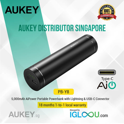 Aukey [PB-Y8] 5,000mAh USB-C Powerbank with Lightning Adapter