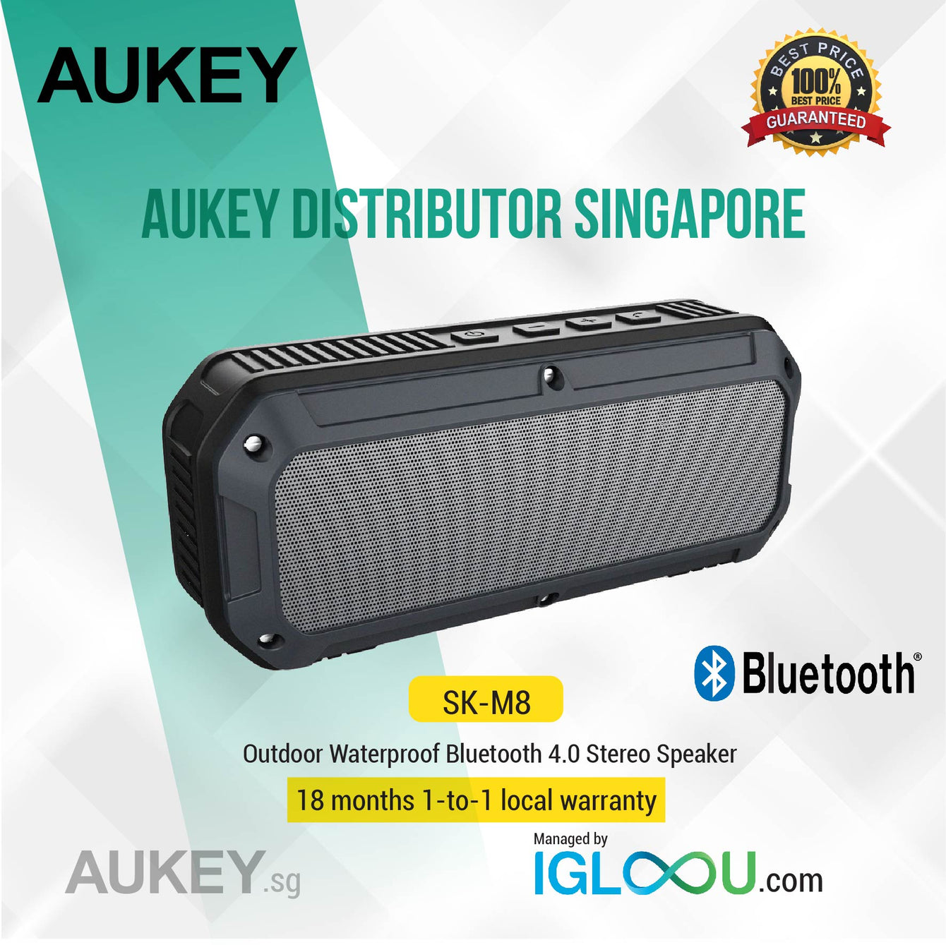 Aukey [SK-M8] Outdoor Waterproof Bluetooth 4.0 Stereo Speaker