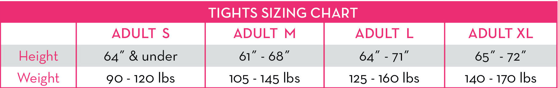 GM Adult Tights Size Chart