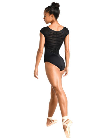 DanzNmotion Cap Sleeve Mesh Accent Leotard