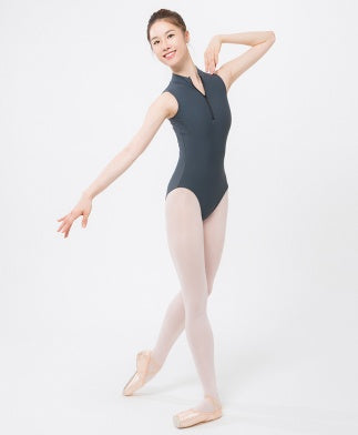 Sonata mock turtleneck leotard with front zip