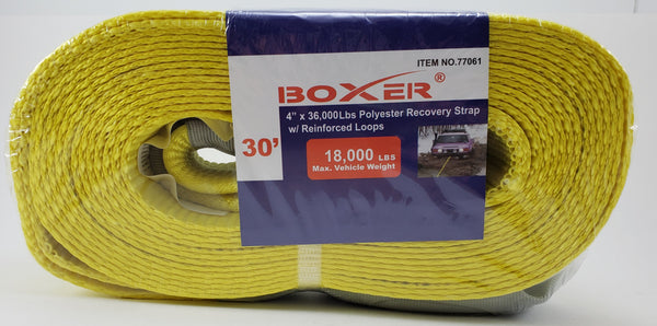 "Boxer 4"" x 30' 36000 lbs Polyester Recovery Strap w/ Loop Ends, 77061"