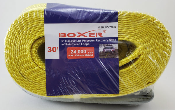 "Boxer 6"" x 30' 48000 lbs Polyester Recovery Strap w/ Loop Ends, 77062"