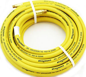 Continental CONTITECH (Formerly Goodyear) 46504 3/8-Inch x 25-Feet Rubber Air Hose 1/4-Inch Fittings, Yellow - Made in USA