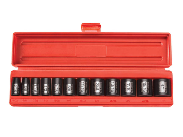 Tekton 47910 3/8-Inch Drive Shallow Impact Socket Set, Inch, Cr-V, 6-Point, 5/16-Inch - 1-Inch, 12-Sockets
