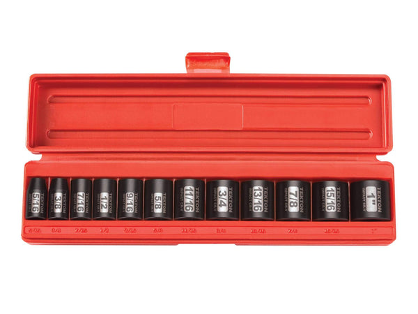 Tekton 47911 3/8-Inch Drive Shallow Impact Socket Set, Inch, Cr-V, 12-Point, 5/16-Inch - 1-Inch, 12-Sockets