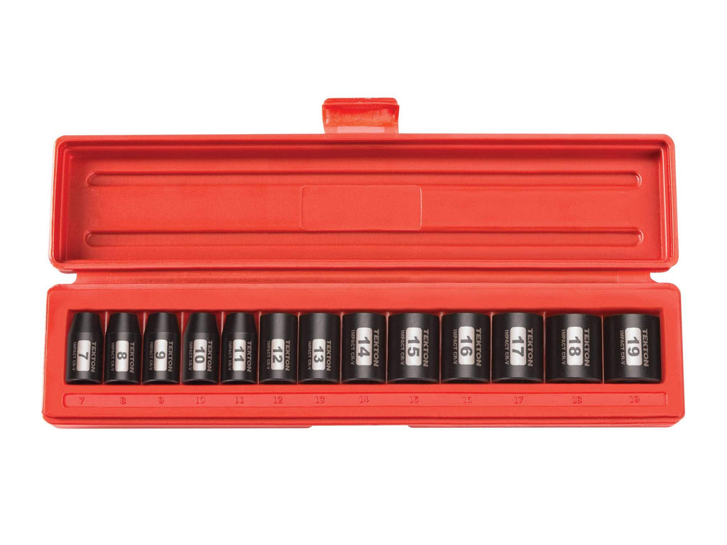 Tekton 47915 3/8 Inch Drive 6-Point Impact Socket Set, 13-Piece (7-19 mm)