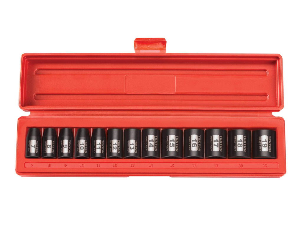 Tekton 47916 3/8 Inch Drive 12-Point Impact Socket Set, 13-Piece (7-19 mm)