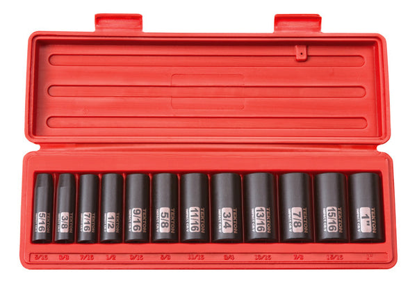 Tekton 47921 3/8-Inch Drive Deep Impact Socket Set, 5/16-1-Inch, Inch, Cr-V, 12-Point, 12 Sockets