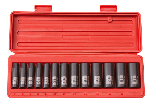 Tekton 47925 3/8-Inch Drive Deep Impact Socket Set, 7-19mm, Metric, Cr-V, 6-Point, 13 Sockets