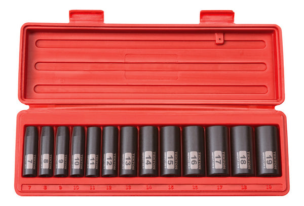 TEKTON 47926 3/8-Inch Drive Deep Impact Socket Set, 7-19mm, Metric, Cr-V, 12-Point, 13 Sockets