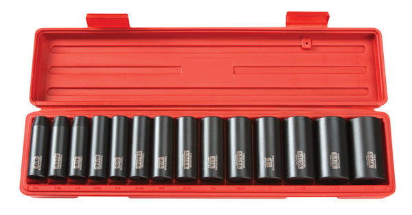 Tekton 4879 1/2-Inch Drive Deep Impact 12-Point Socket Set, 3/8-Inch - 1-1/4-Inch, Inch, Cr-V, 6 Point, 14 Sockets