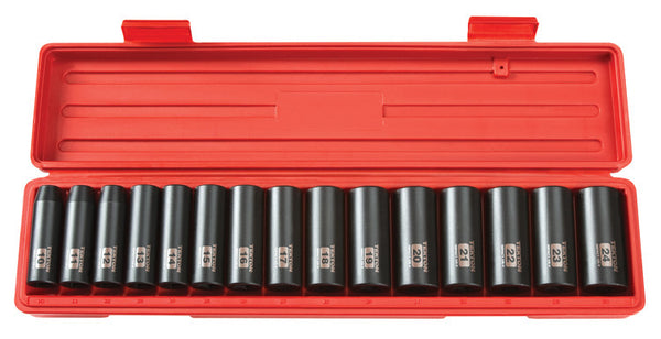 Tekton 4883 1/2-Inch Drive Deep Impact Socket Set, 10-24mm, Metric, Cr-V, 6 Point, 15 Sockets