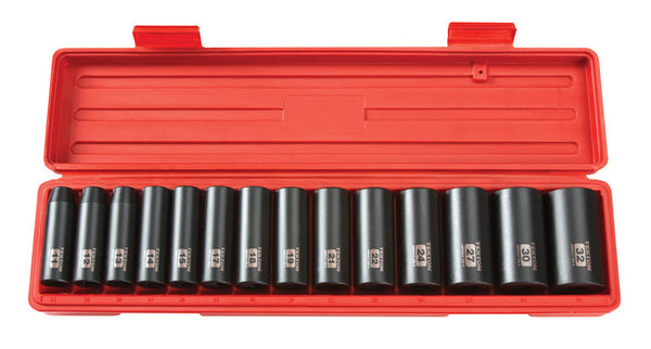 Tekton 4884 1/2 in. Drive Deep Impact Socket Set, 11-32mm, Metric, Cr-V, 12 Point, 14 Sockets