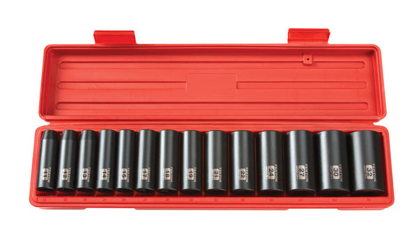 "Tekton 4885 1/2"" Drive Deep Impact Socket Set, 11-32mm, Metric, Cr-V, 6 Pt, 14 Sockets"