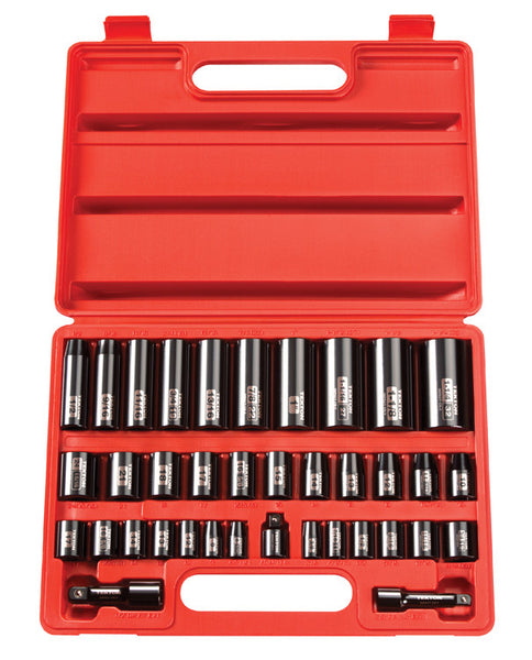 "TEKTON 4888 38 Piece 3/8"" & 1/2"", SAE / Metric, Deep / Shallow Impact Socket Set"