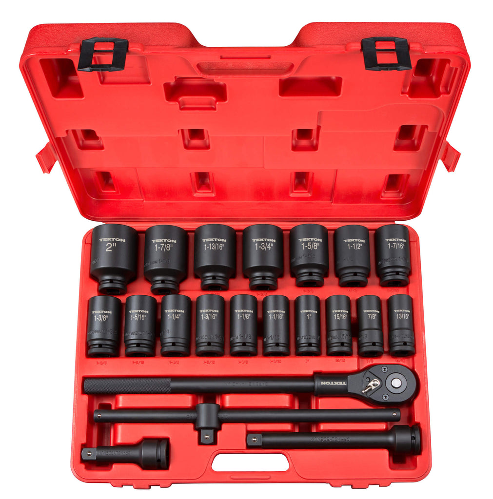 TEKTON 48995 3/4 in. Drive Deep Impact Socket Set, Inch, Cr-Mo, 7/8-Inch - 2-Inch, 22-Piece