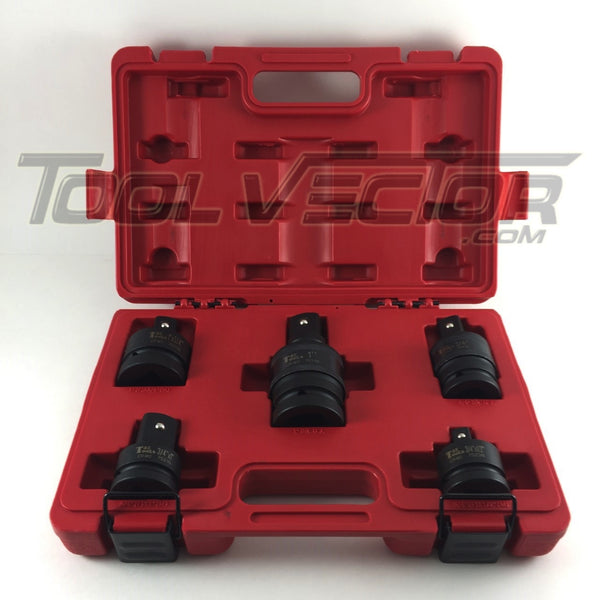 "T&E Tools 79700 5 Piece 3/4"" and 1"" Drive Impact Adapter & Universal Joint Set"