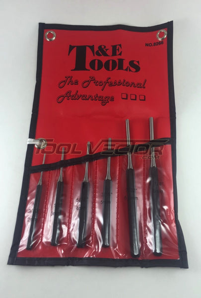 T&E Tools 8266 6 Piece Pin Punch Set