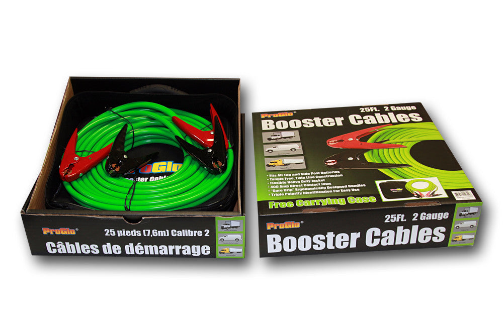 Century Pro Glo 2 Gauge 25' Booster Cables, D1110225GN