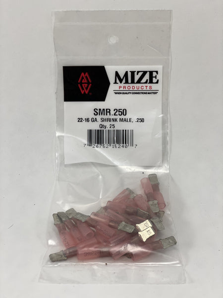Mize Wire 25 Pc 22-16 GA Female Uninsulated Shrink Plug Connector, SFR250