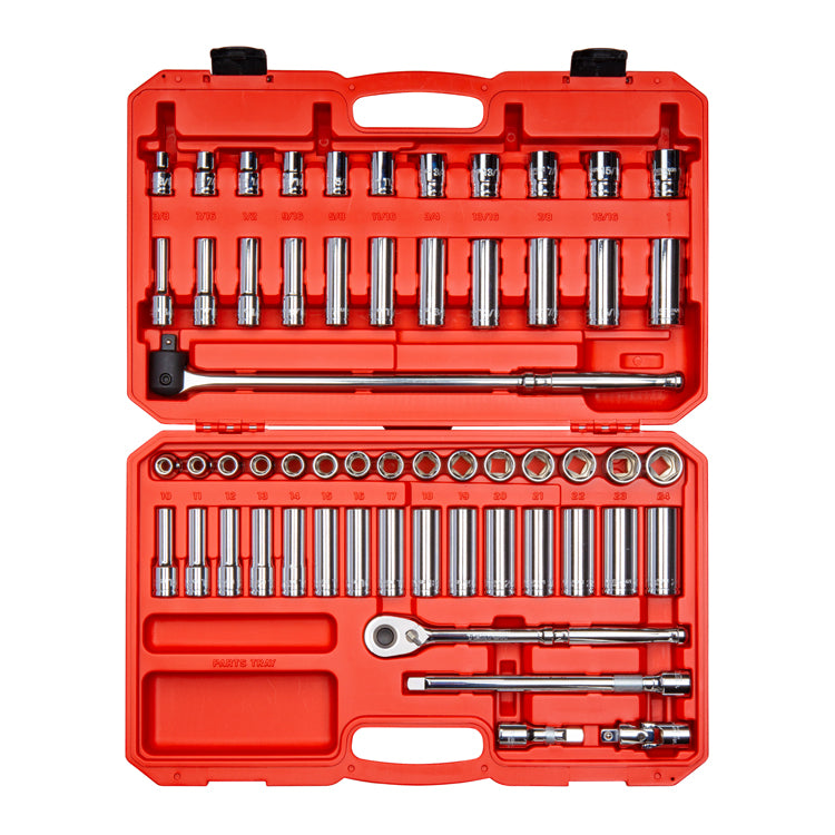 Tekton SKT25301 1/2 Inch Drive 6-Point SAE / Metric Socket & Ratchet Set, 58-Piece (3/8-1 in., 10-24 mm)