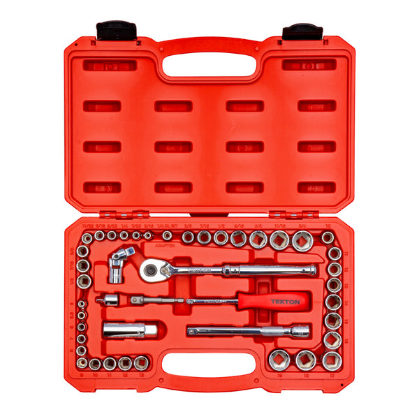 Tekton SKT95301 1/4 Inch and 3/8 Inch Drive 6-Point SAE / Metric Socket & Ratchet Set, 45-Piece (3/16-3/4 in., 5-19 mm)